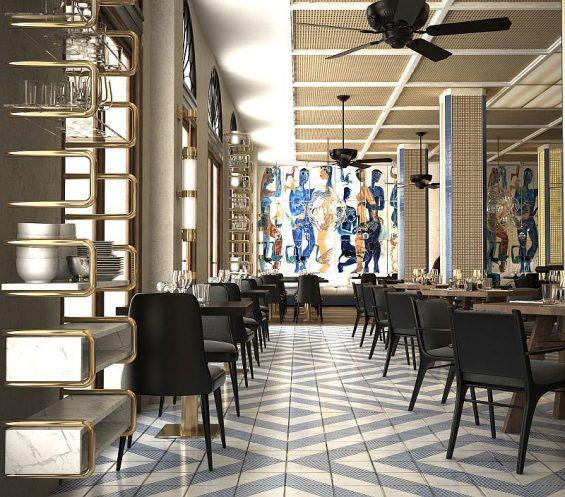 Das Restaurant im Gran Hotel Montesol Ibiza wirkt nun heller und kombiniert verschiedene Stilrichtungen zu einem harmonischen Gesamteindruck (Foto: Curio, 2016)
