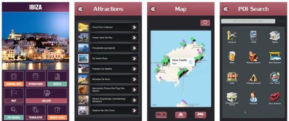 Der Ibiza Offline Travel Guide enthält eine Ibiza-Karte, eine Navigation und einige Hinweise auf Sehenswürdigkeiten, Restaurants und Hotels.