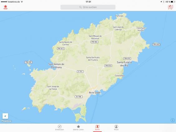 Screenshot der Offline-Ibiza-Karte auf dem iPad. Du kannst in die Karte hineinzoomen und so auch die Straßennamen sehen. (Screenshot aus der App CityMaps2Go Pro)