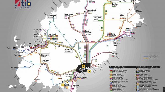 Die Karte zeigt alle Linienbusverbindungen auf Ibiza. (Quelle: tib)